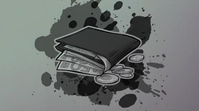 Illustration d'un porte-feuille. Signifie la violence financière.