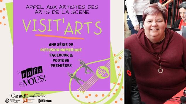 Affiche de l'appel aux artistes et portrait de Sylvie Thériault, directrice générale du RAFA.