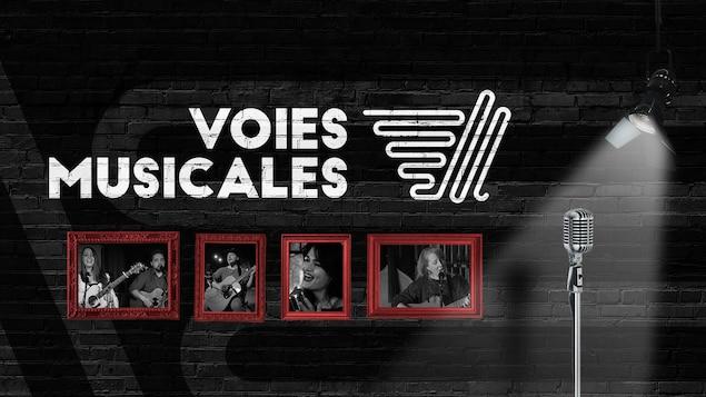 Affiche du spectacle Voies musicales avec les photos des quatre auteurs-compositeurs-interprètes.