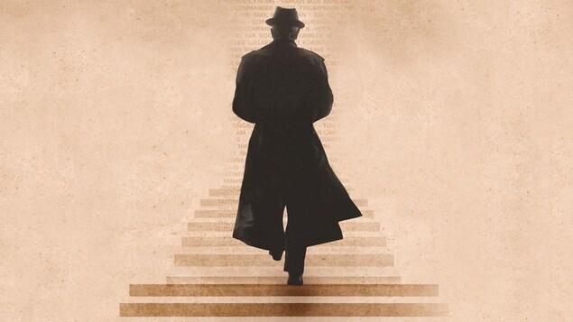 Le poète montréalais vu de dos, vêtu d'un long imperméable noir, monte des escaliers.