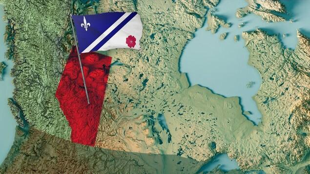 Carte du Canada avec l'Alberta en surbrillance; le drapeau franco-albertain « flotte » au-dessus de la province.