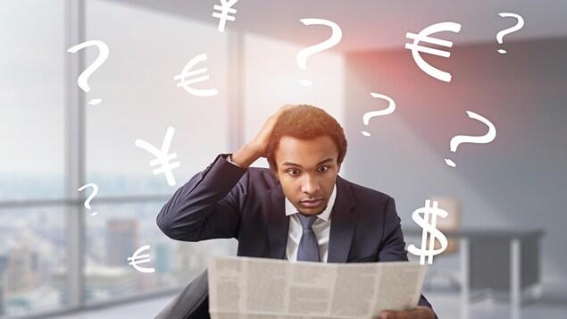 Au milieu d'une nuée de symboles bancaires, un homme semble confus en lisant un document.