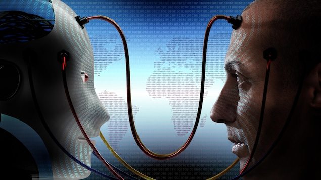 un robot est relié à un humain par des fils