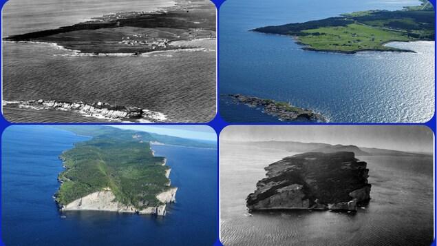 Photos aérienne de La Pointe St-Pierre en noir et blanc et une en couleur, et une en couleur et une en noir et blanc du Parc national de Forillon