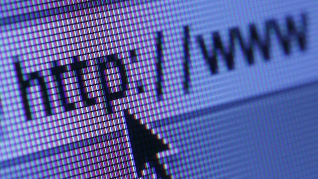 Le curseur d'une souris s'arrête sur une adresse Internet.