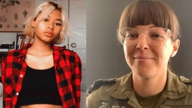 Photo de courtoisie d'Emily Cochelin à gauche et capture d'écran de la Major Beaucage à droite