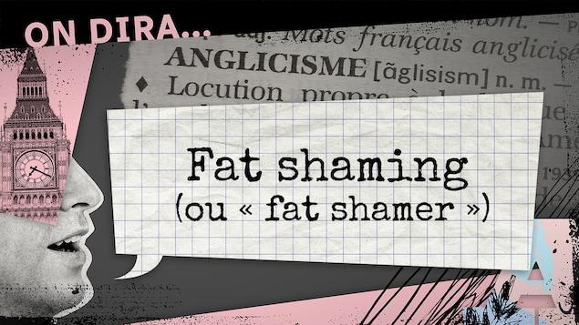 L'illustration d'un phylactère où est inscrit « fat shaming ».