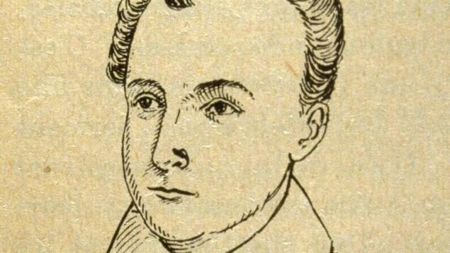 Portrait dessiné de l'auteur Philippe Aubert de Gaspé fils.