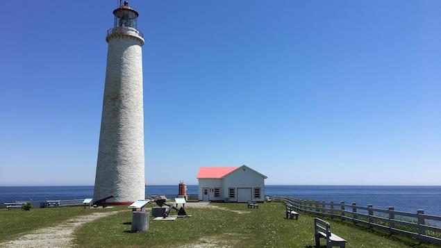 Un phare et une cabane surplombant la mer.