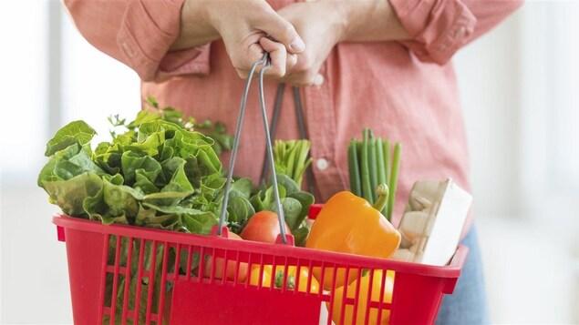 Une personne tient un panier d'épicerie contenant des légumes.