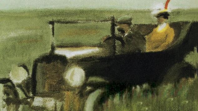 Dessin d'un couple dans une vieille automobile dans un champ.