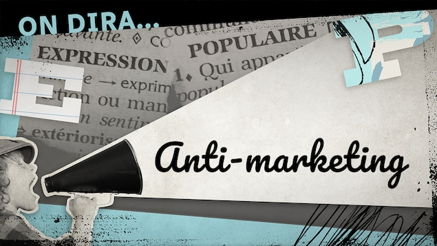 Un petit garçon tient un porte-voix d'où sort l'expression « anti-marketing ».