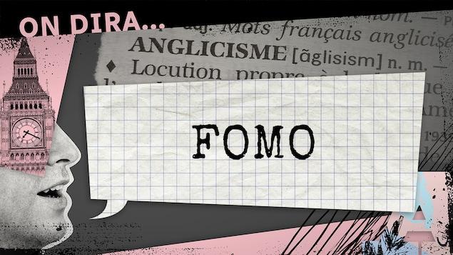 L'illustration d'un phylactère où est inscrit « FOMO ».