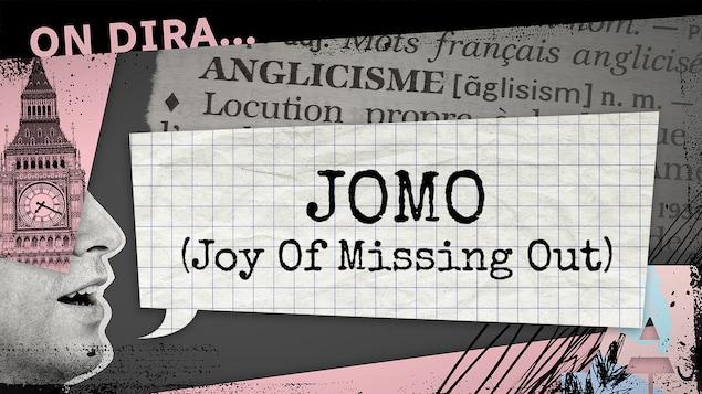 L'illustration d'un phylactère où est inscrit « jomo ».