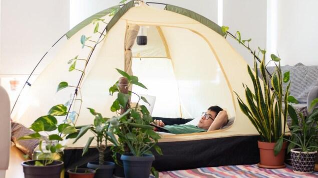 Un homme consulte son ordinateur dans une tente de camping, entouré de plantes vertes.
