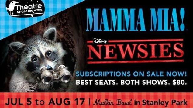 Un affiche pour un spectacle musical à Vancouver du 5 juillet au 17 aout 2019.