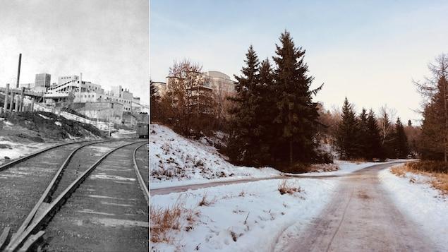 Montage photo montrant le même lieu à deux époques différentes.