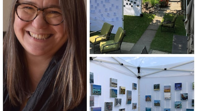 La peintre de Calgary, Sabine Lecorre-Moore et son installation de tentes pour l'exposition virtuelle.