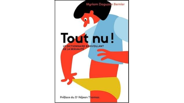 Sur la couverture du livre, un personnage dessiné étire le devant de sa culotte pour regarder dedans.