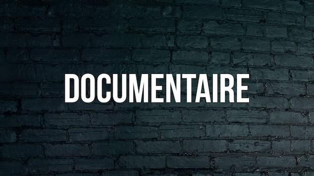 Mot documentaire avec arrière-plan de brique bleue foncée.