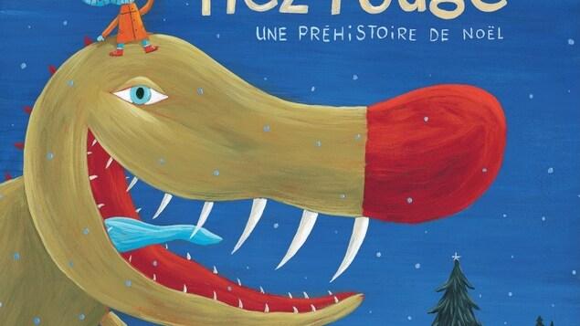 Couverture du livre pour enfant le tyrano nez rouge.