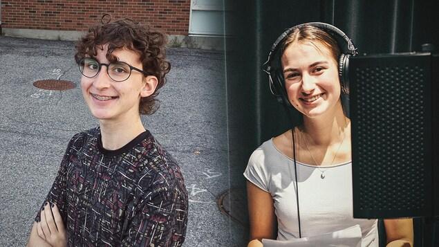 À gauche : Toby Guillemette, souriant. À droite : Sarah Komendat, souriante, dans un studio d'enregistrement.