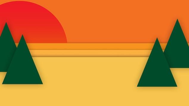 Illustration thème du dossier, montrant un paysage de couleur orange avec un soleil levant rouge et des sapins verts.