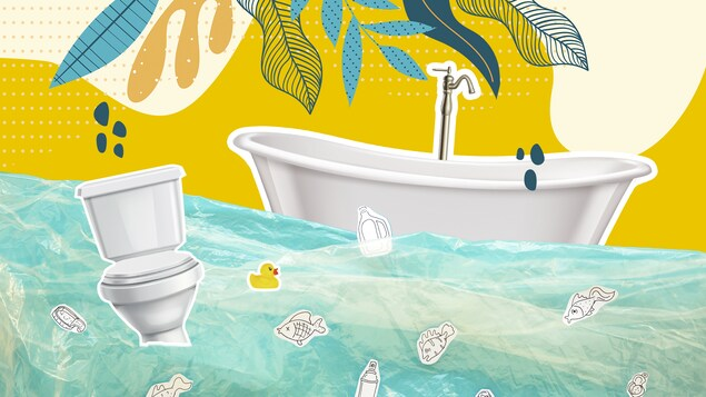 Une illustration d'un bain et d'une toilette qui flottent sur une étendue de plastique représentant de l'eau.