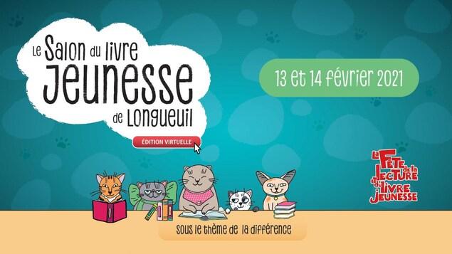 Affiche du Salon avec des animaux qui lisent