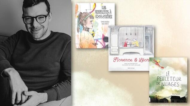 Le poète pose avec trois de ses livres
