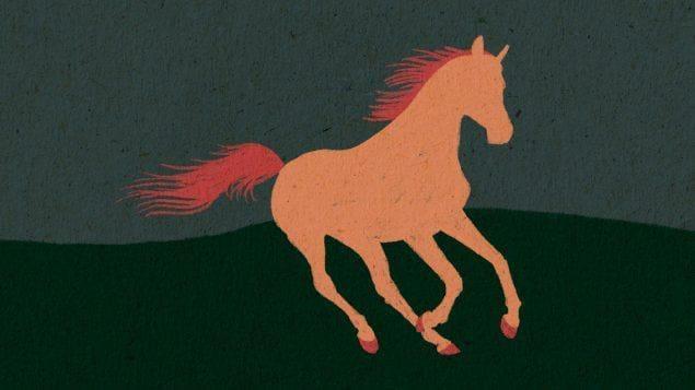 Un cheval court, il est dessiné et illustré