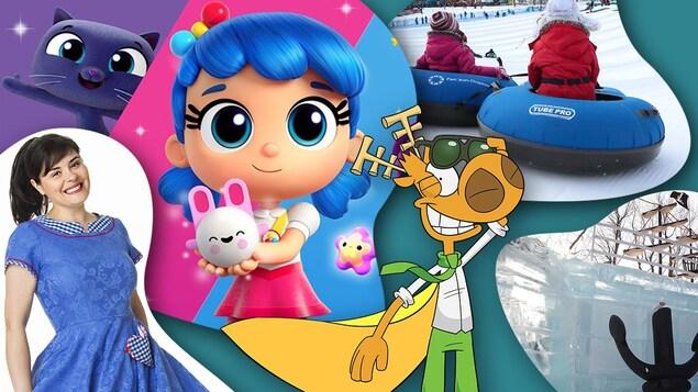 On voit des enfants sur des glissades sur tubes, un bateau en glace, et les personnages de Talia, Ari Cui Cui et L'Agent Jean