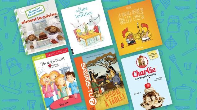 On voit 6 livres jeunesse sur la cuisine et les recettes