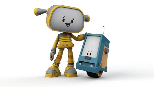 Nos deux amis robots sourient
