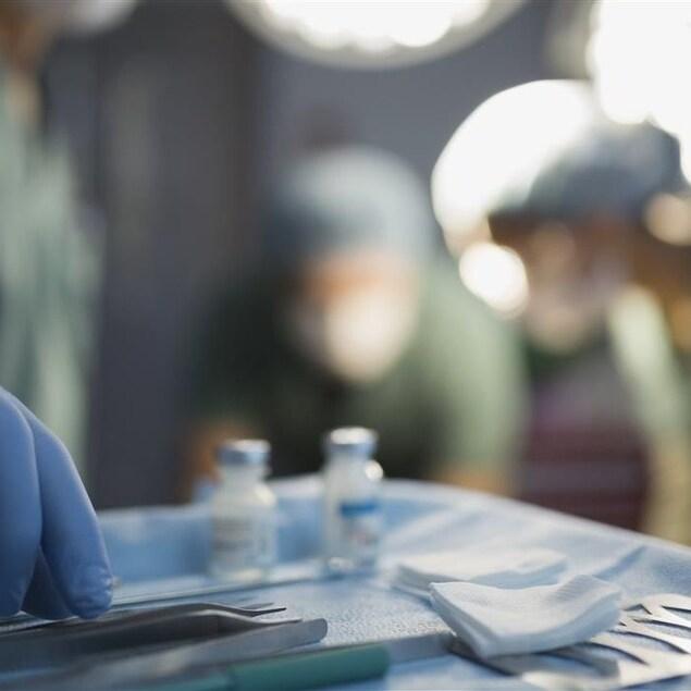 Instruments chirurgicaux pour procéder à une greffe d'organes.