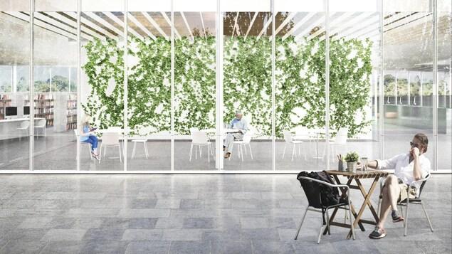 La bibliothèque sera entièrement vitrée et entourée de verdure. On retrouvera un mur végétal à l'intérieur.