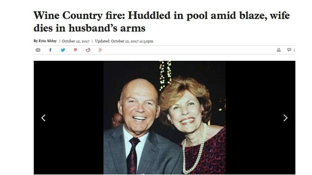 Photo de famille parue dans le San Francisco Chronicle le 12 octobre 2017 montrant dans des jours plus heureux Carmen Caldentey Berriz (victime des feux de forêt) et son mari, Armando Berriz