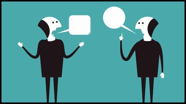 Croquis de deux hommes qui discutent