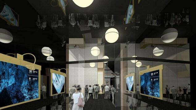 Intérieur de l'entrée avec des affiches le long des  murs