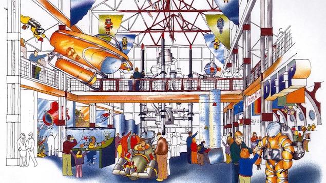 Un croquis du Deep Discovery Center avec des équipements de plongée en exposition