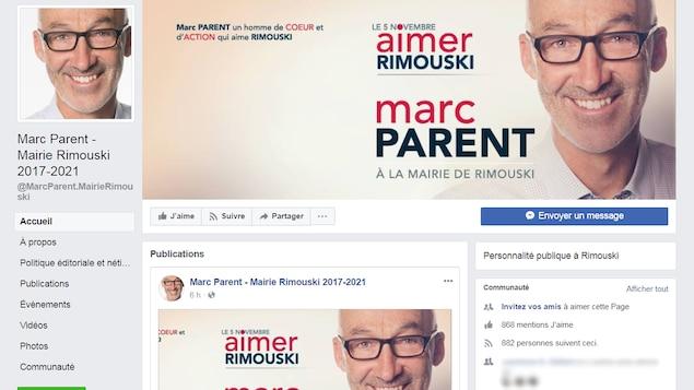 La page Facebook du maire sortant de Rimouski, Marc Parent