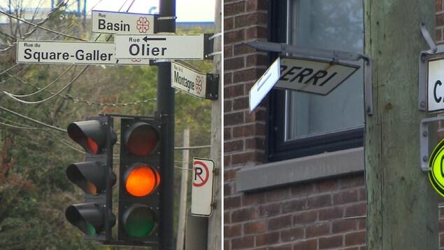 Montage montrant quatre panneaux de rue créant de la confusion dans Griffintown (image de gauche) et un panneau vétuste dans Villeray (image de droite).