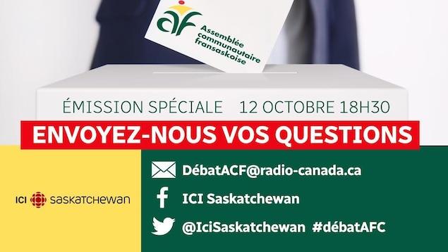 En prévision du débat des candidats à la présidence de l'Assemblée communautaire fransaskoise, le public est invité à nous faire parvenir des questions à l'intention des deux participants. Sur Facebook : facebook.com/icisaskatchewan ou par courriel à DébatACF@radio-canada.ca.