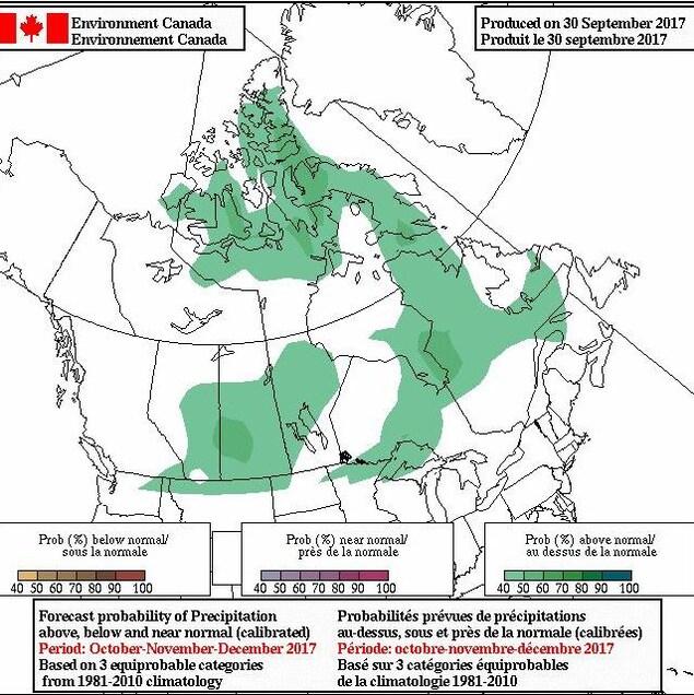 Carte des prévisions des précipitations pour les trois prochains mois.
