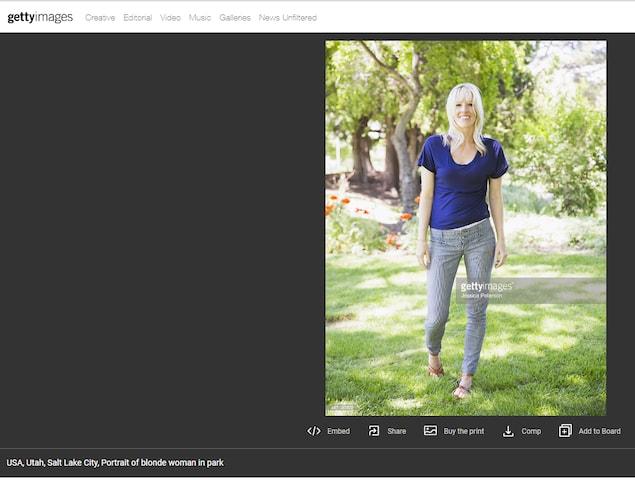 On voit la même photo que celle qui figure comme photo de profil de Jessica Martin dans la banque d'images Getty.