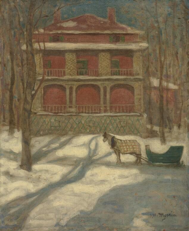 Toile de l'artiste Morrice sur laquelle on voit une maison rose dans un paysage enneigé. Un cheval attelé attend devant la maison.