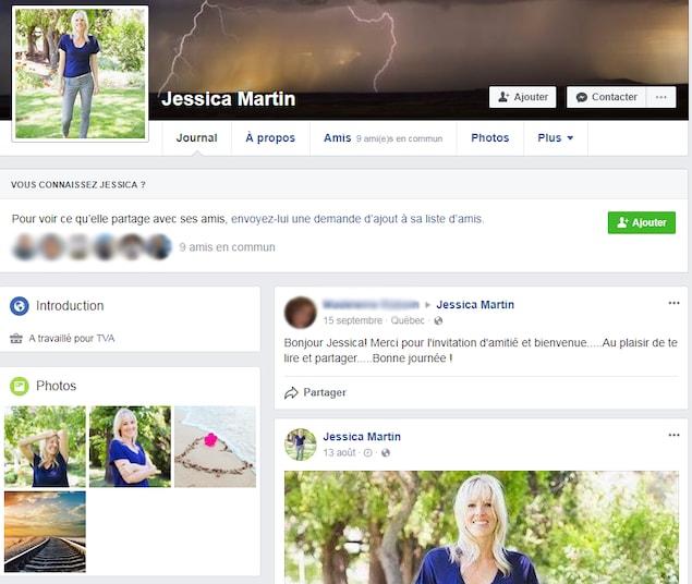 On voit le profil Facebook d'une jeune femme blonde. Elle affirme avoir travaillé pour TVA.