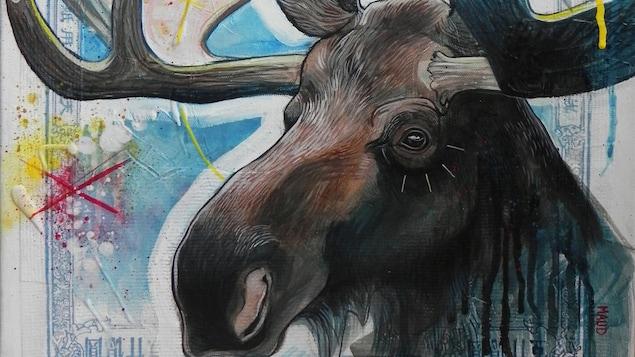Moose de Maud Besson. Technique mixte représentant un orignal dans les teintes dominantes de bleues. On dirait un timbre.