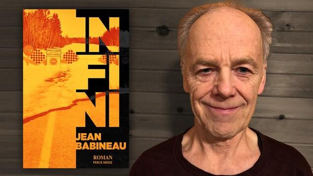 Montage visuel montrant l'auteur, souriant, près de la couverture de son livre.
