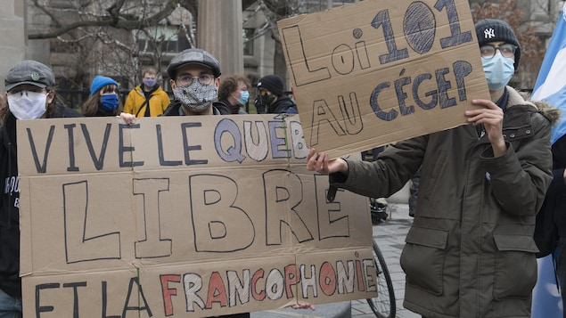 """Des manifestants masqués, pendant la pandémie de COVID-19, tiennent des pancartes où sont écrits : """"Vive le Québec Livre et la francophonie"""" ainsi que """"Loi 101 au Cégep""""."""